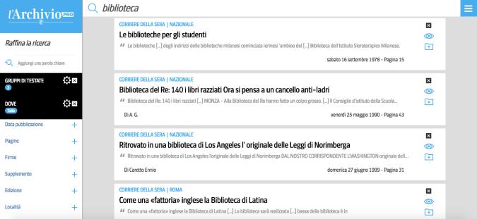 La ricerca nell'Archivio PRO del Corriere della Sera