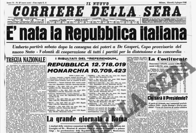 Prima pagina del Corriere della Sera del 6 giugno 1946