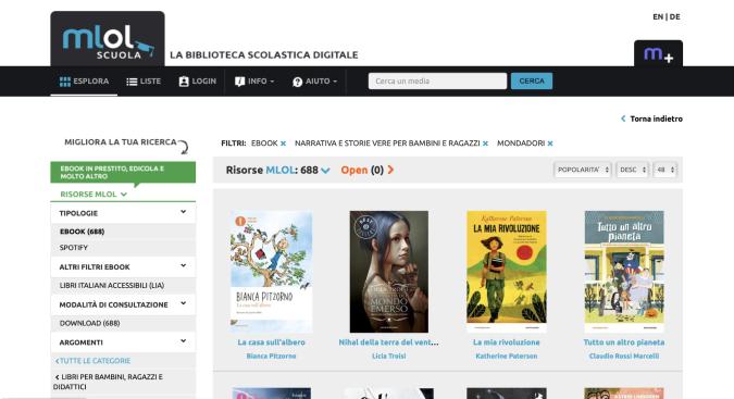 Gli Ebook del Gruppo Mondadori su MLOL Scuola