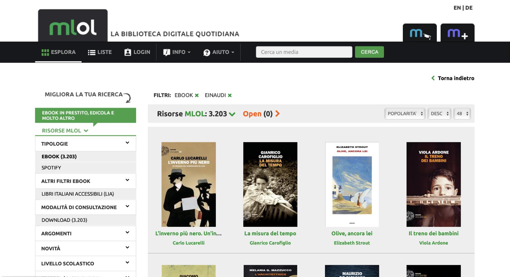 Gli Ebook del Gruppo Mondadori su MLOL